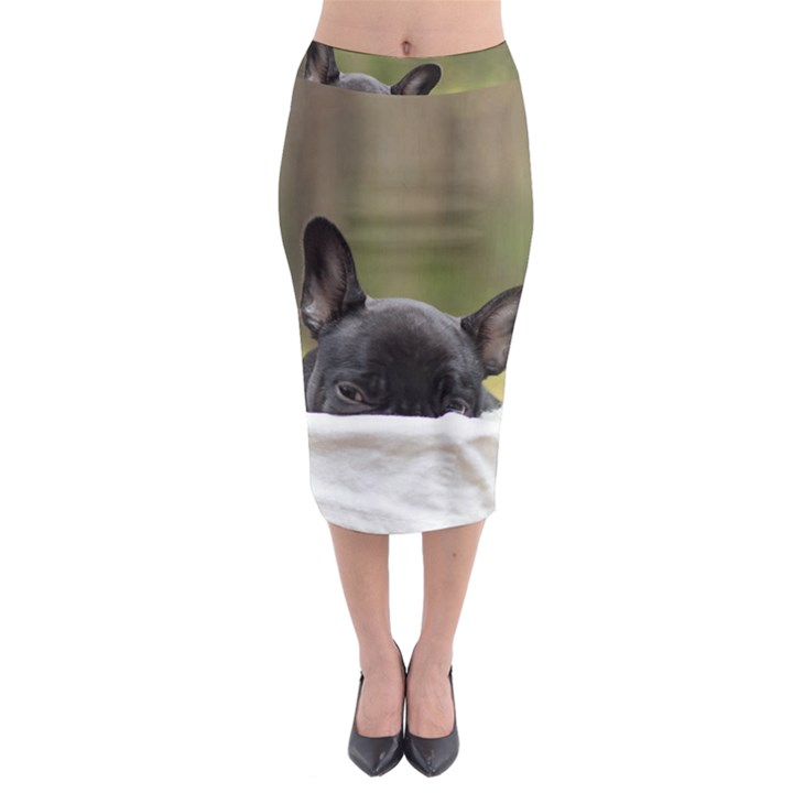 French Bulldog Peeking Puppy Midi Pencil Skirt
