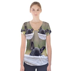 French Bulldog Peeking Puppy Short Sleeve Front Detail Top
