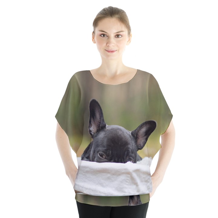French Bulldog Peeking Puppy Blouse
