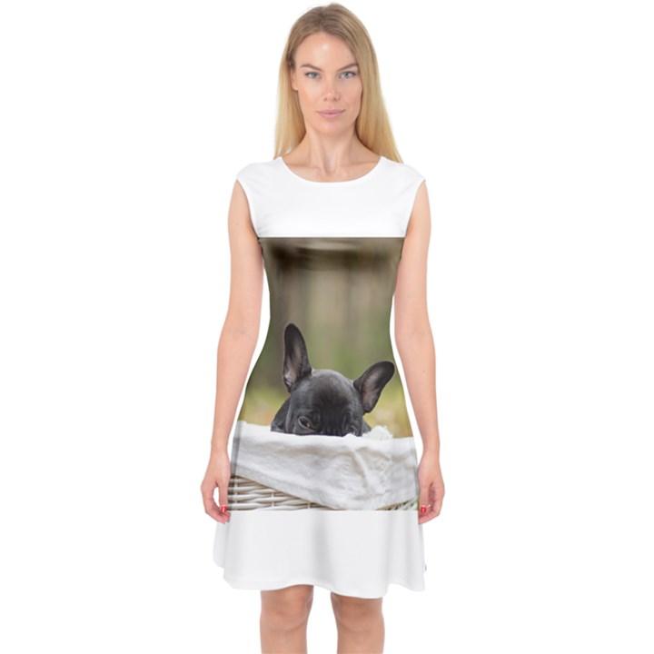 French Bulldog Peeking Puppy Capsleeve Midi Dress
