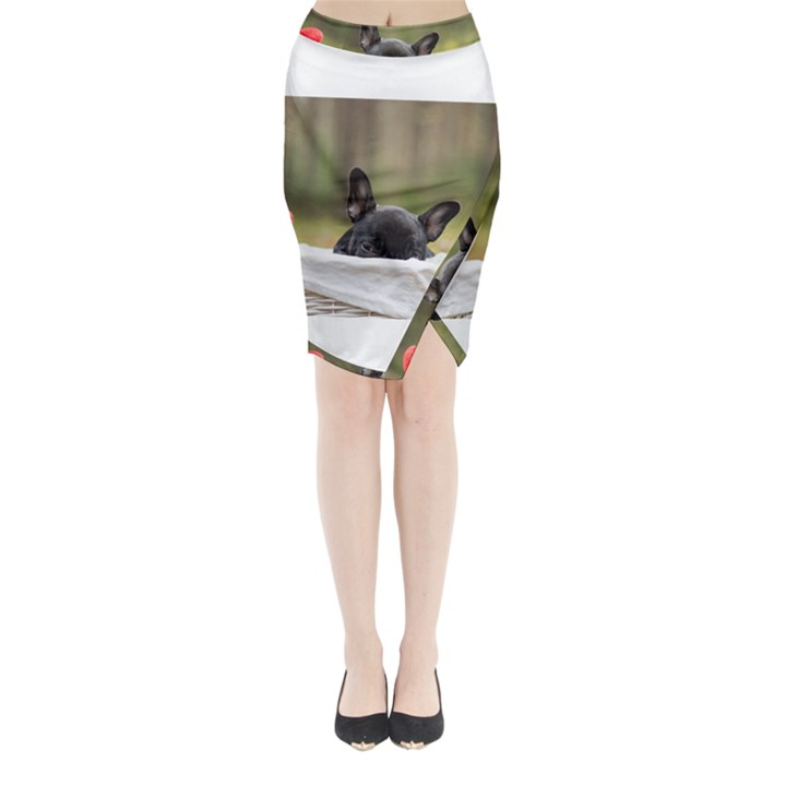 French Bulldog Peeking Puppy Midi Wrap Pencil Skirt