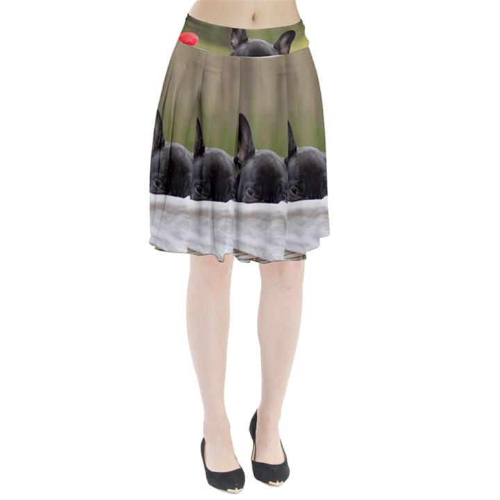 French Bulldog Peeking Puppy Pleated Skirt