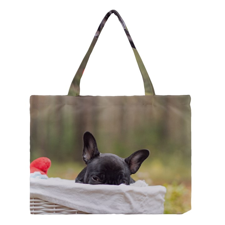 French Bulldog Peeking Puppy Medium Tote Bag