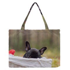 French Bulldog Peeking Puppy Medium Zipper Tote Bag