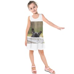 French Bulldog Peeking Puppy Kids  Sleeveless Dress