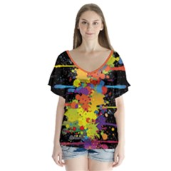 Crazy Multicolored Double Running Splashes V-Neck Flutter Sleeve Top