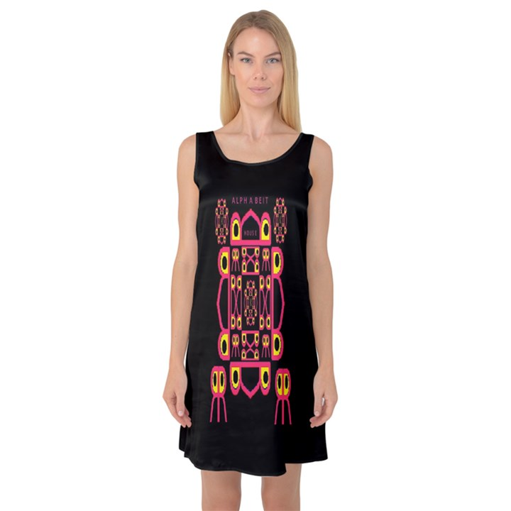 Alphabet Shirt Sleeveless Satin Nightdress