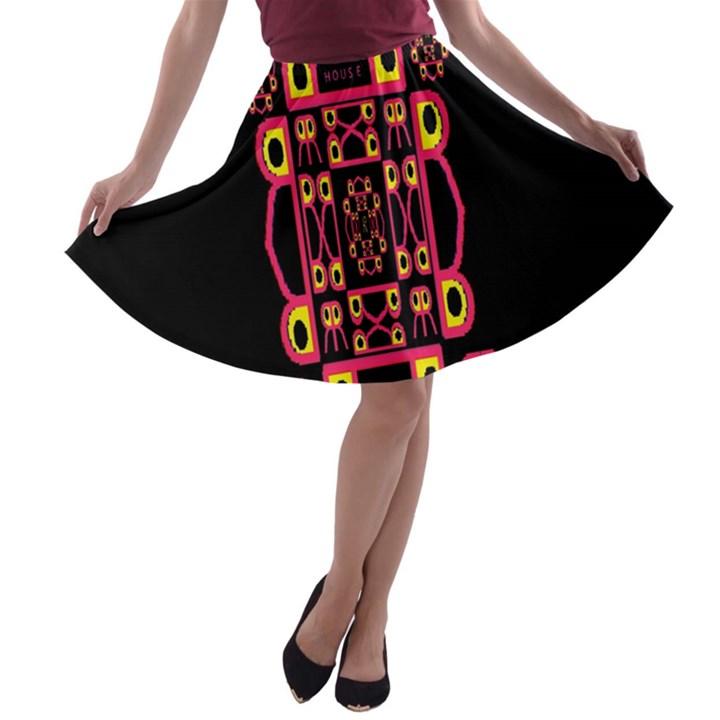 Alphabet Shirt A-line Skater Skirt