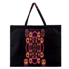 Alphabet Shirt Zipper Large Tote Bag