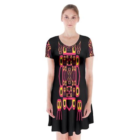 Alphabet Shirt Short Sleeve V-neck Flare Dress