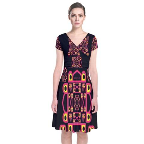 Alphabet Shirt Short Sleeve Front Wrap Dress