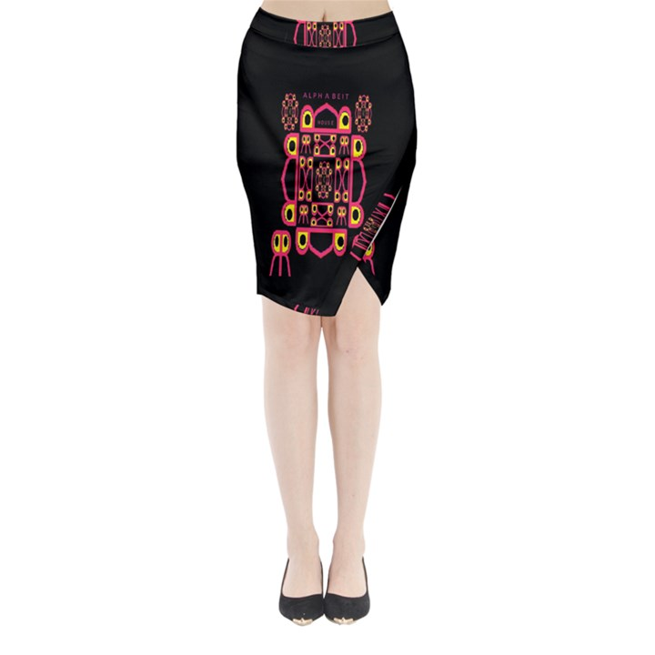 Alphabet Shirt Midi Wrap Pencil Skirt