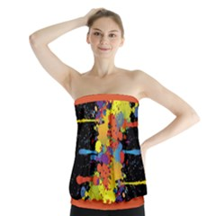 Crazy Multicolored Double Running Splashes Strapless Top