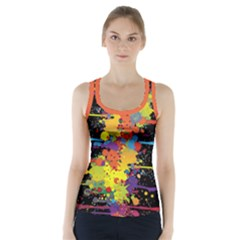 Crazy Multicolored Double Running Splashes Racer Back Sports Top
