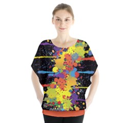 Crazy Multicolored Double Running Splashes Batwing Chiffon Blouse