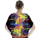 Crazy Multicolored Double Running Splashes Batwing Chiffon Blouse View2