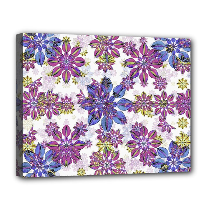 Stylized Floral Ornate Pattern Canvas 14  x 11