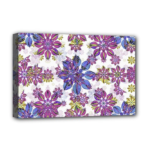 Stylized Floral Ornate Pattern Deluxe Canvas 18  x 12
