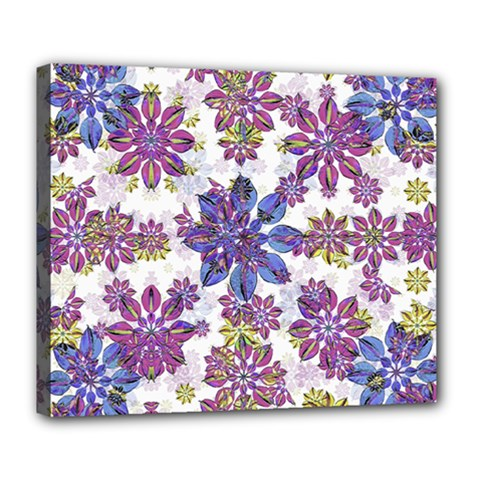Stylized Floral Ornate Pattern Deluxe Canvas 24  X 20