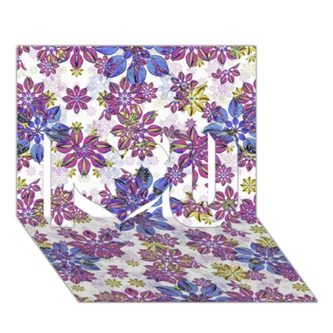 Stylized Floral Ornate Pattern I Love You 3D Greeting Card (7x5)