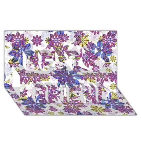 Stylized Floral Ornate Pattern Best Friends 3D Greeting Card (8x4)