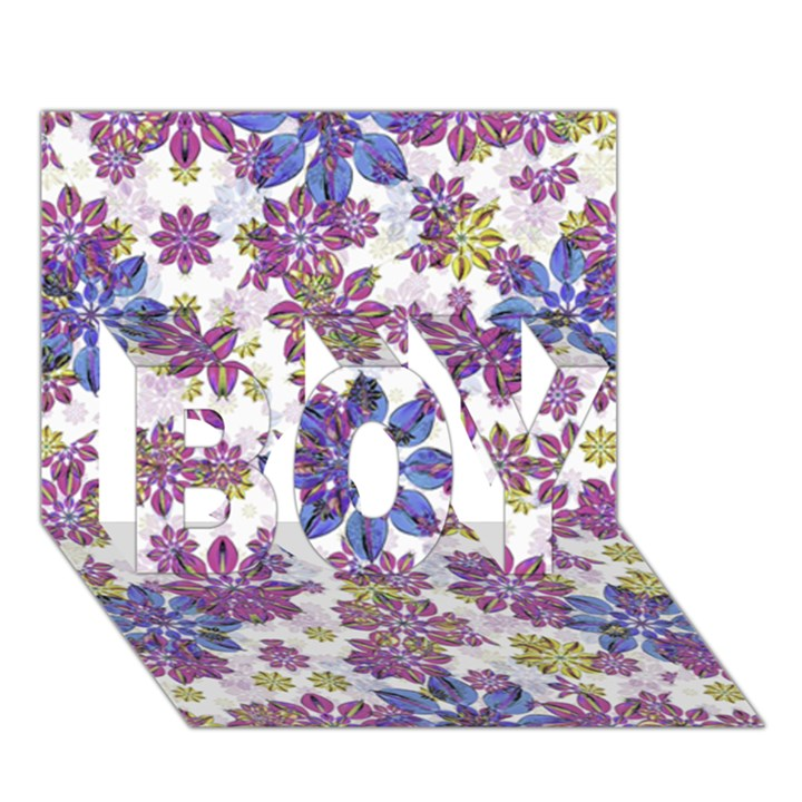Stylized Floral Ornate Pattern BOY 3D Greeting Card (7x5)