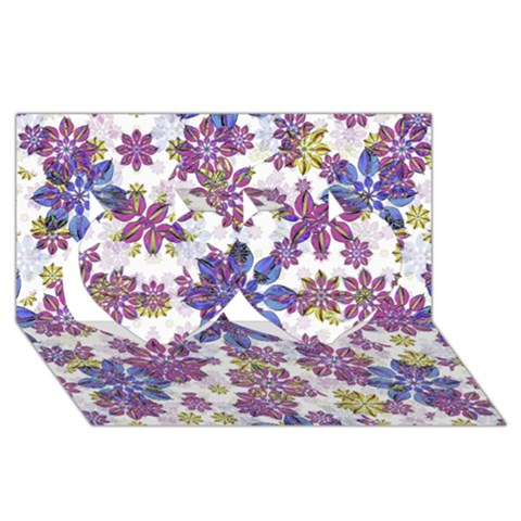 Stylized Floral Ornate Pattern Twin Hearts 3D Greeting Card (8x4)