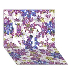 Stylized Floral Ornate Pattern Love 3d Greeting Card (7x5)