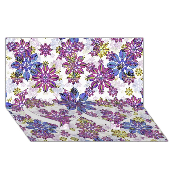 Stylized Floral Ornate Pattern Twin Heart Bottom 3D Greeting Card (8x4)