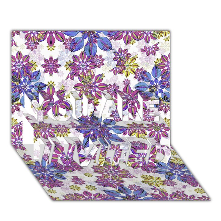 Stylized Floral Ornate Pattern YOU ARE INVITED 3D Greeting Card (7x5)