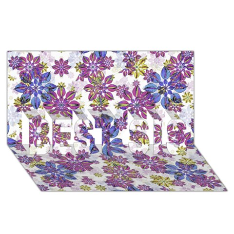 Stylized Floral Ornate Pattern BEST SIS 3D Greeting Card (8x4)