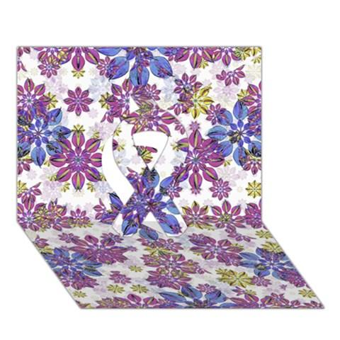 Stylized Floral Ornate Pattern Ribbon 3D Greeting Card (7x5)