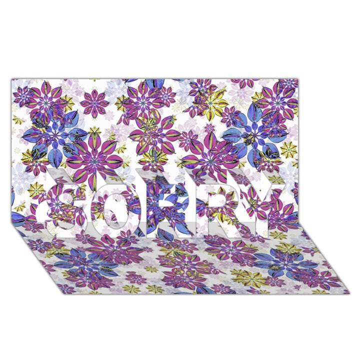Stylized Floral Ornate Pattern SORRY 3D Greeting Card (8x4)