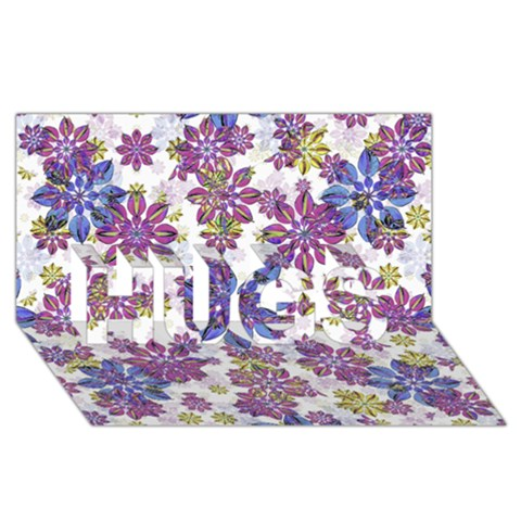 Stylized Floral Ornate Pattern HUGS 3D Greeting Card (8x4)