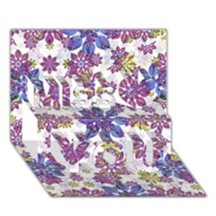 Stylized Floral Ornate Pattern Miss You 3D Greeting Card (7x5)
