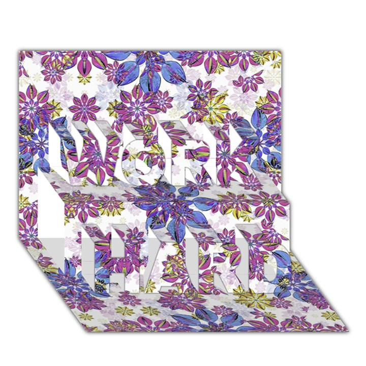 Stylized Floral Ornate Pattern WORK HARD 3D Greeting Card (7x5)