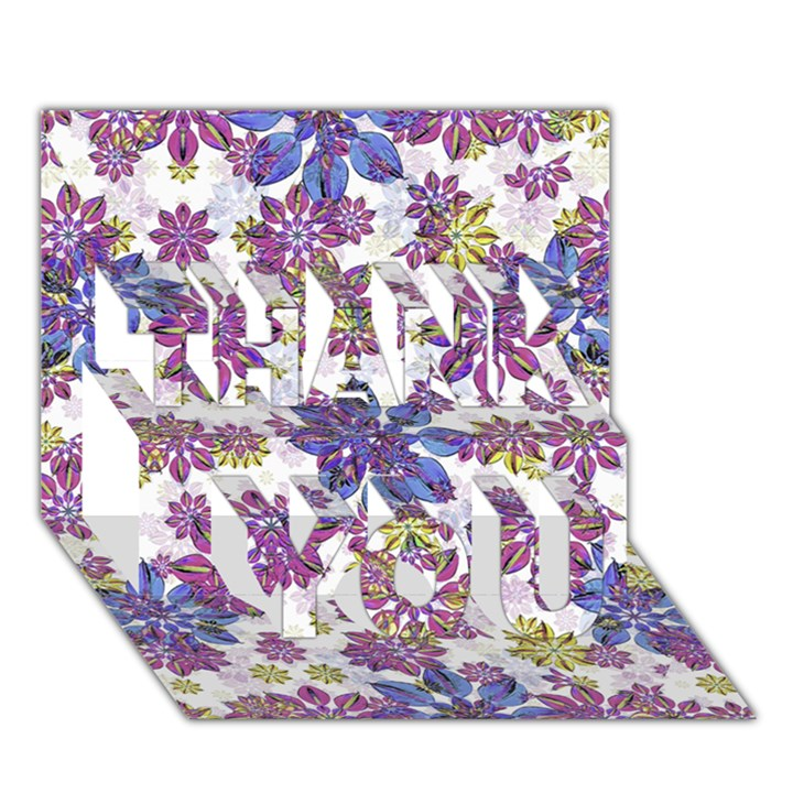 Stylized Floral Ornate Pattern THANK YOU 3D Greeting Card (7x5)