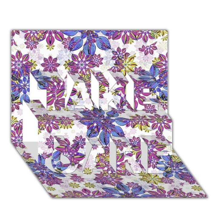 Stylized Floral Ornate Pattern TAKE CARE 3D Greeting Card (7x5)