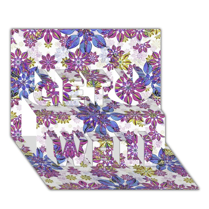 Stylized Floral Ornate Pattern Get Well 3D Greeting Card (7x5)
