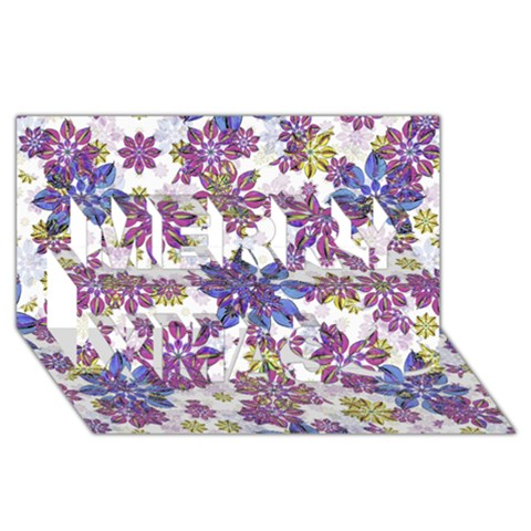 Stylized Floral Ornate Pattern Merry Xmas 3D Greeting Card (8x4)