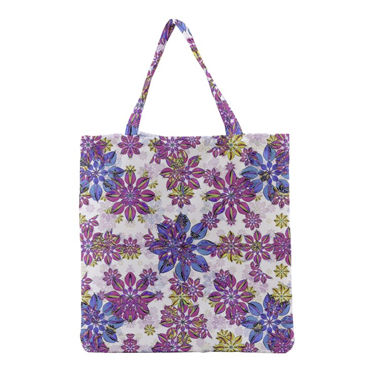Stylized Floral Ornate Pattern Grocery Tote Bag