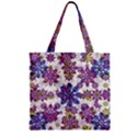 Stylized Floral Ornate Pattern Zipper Grocery Tote Bag View1