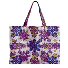 Stylized Floral Ornate Pattern Zipper Mini Tote Bag