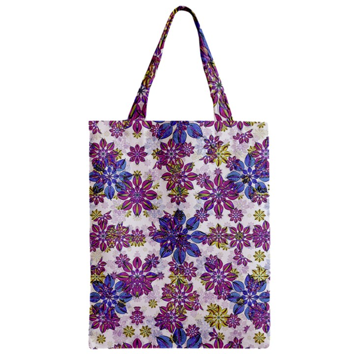Stylized Floral Ornate Pattern Zipper Classic Tote Bag