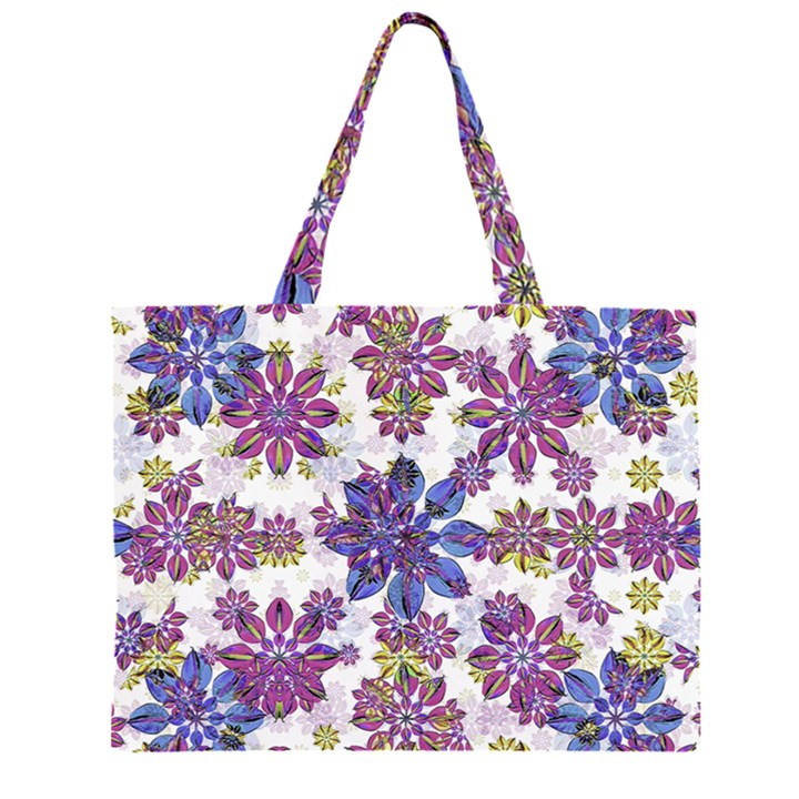 Stylized Floral Ornate Pattern Large Tote Bag