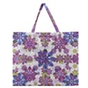 Stylized Floral Ornate Pattern Zipper Large Tote Bag View1