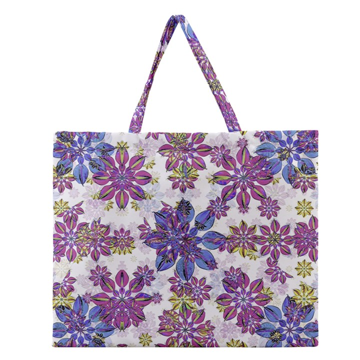 Stylized Floral Ornate Pattern Zipper Large Tote Bag