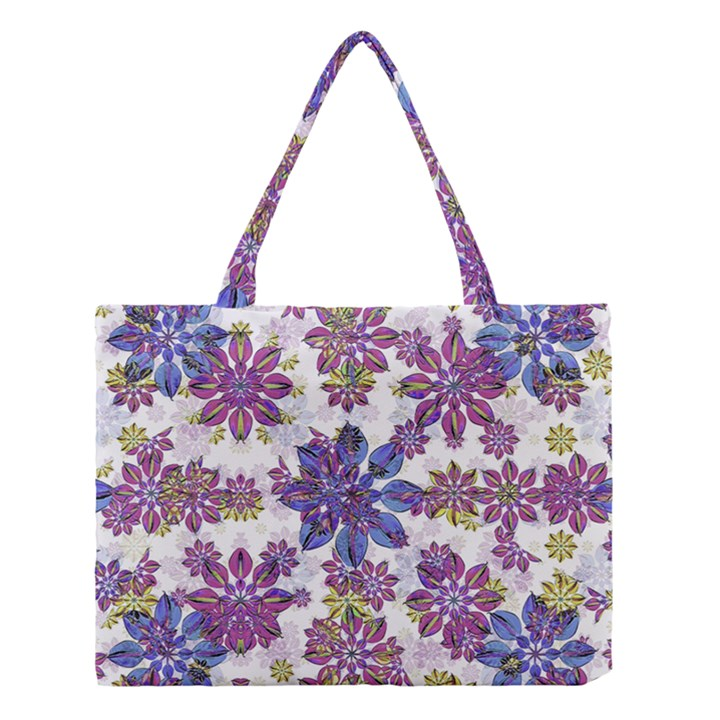 Stylized Floral Ornate Pattern Medium Tote Bag