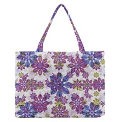 Stylized Floral Ornate Pattern Medium Zipper Tote Bag