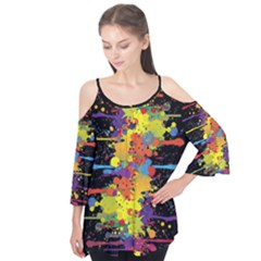 Crazy Multicolored Double Running Splashes Flutter Sleeve Tee